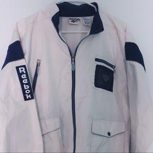 Vintage Reebok Windbreaker Jacket- White and Blue